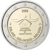 2 Euro Belgien 2008 Menschenrechte Gedenkmünze Euromunzen