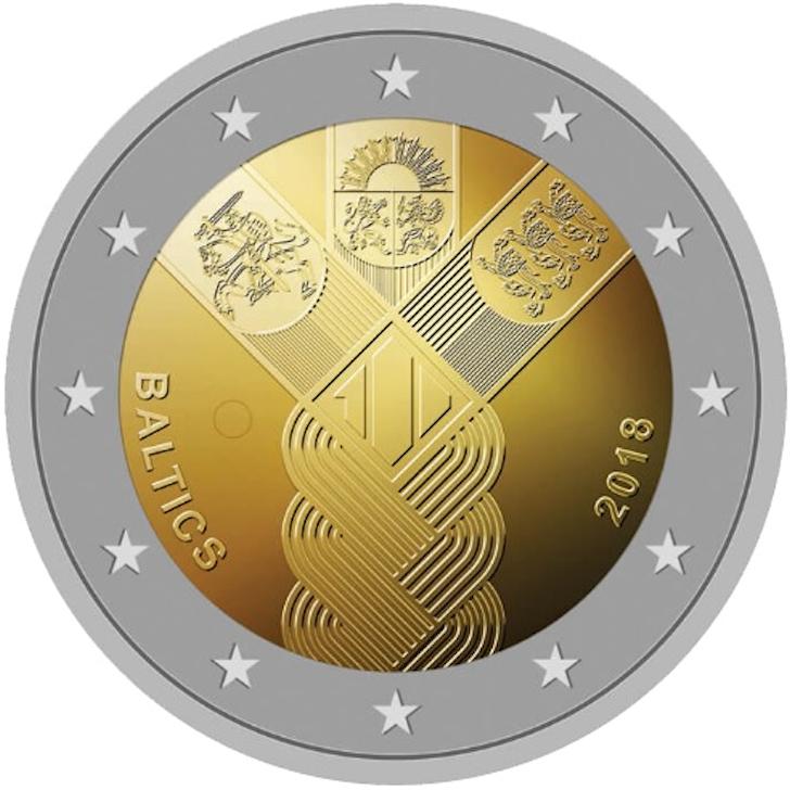 2 EURO Latvia 2018 100 Baltian maiden vuosipäivä - Eurokolikot - Eurocoins- Euromunzen