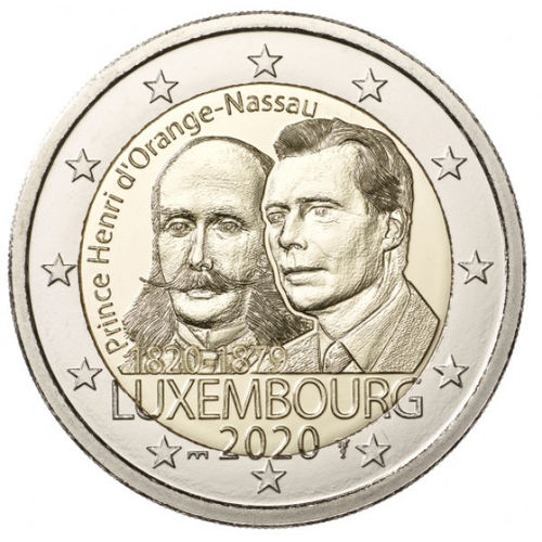 "2 EURO LUXEMBURG 2020 ""PRINSSI HENRY MINT MARK"""
